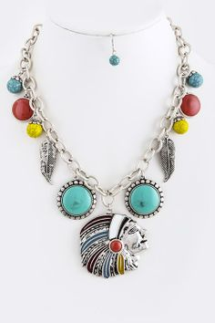 Indian Chief necklace set ... turquoise, coral, feathers, Indian Chief pendant. Go to Red River Cowgirl Clothing Company for more!