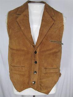 Vintage Bermans Suede Leather Vest Lapels Western Sherpa Lined Brown mens 38 #Bermans #Vest