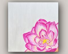 "Modern Canvas Art Pink Lotus Flower Painting - 24"" x 24"""