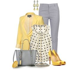 Heather grey skinnies, yellow #blazer, white with black polka dots .
