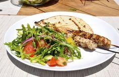 mediterranean marinated chicken or pork skewers
