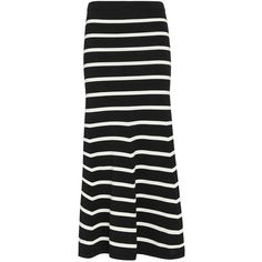 Cardigan Striped Knit Flare Maxi Skirt (1,040 MYR) ❤ liked on Polyvore featuring skirts, black and white stripe skirt, striped maxi skirt, black and white striped skirt, stripe maxi skirt and long striped skirt