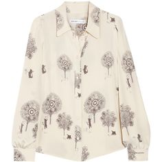 See by Chloé Cats and Trees printed silk blouse (680 RON) ❤ liked on Polyvore featuring tops, blouses, shirts, blusas, cream, cat print blouse, silk shirt, see by chloe blouse, tea shirts and see by chloe top