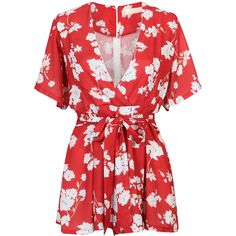 Red Plunge Neck Floral Flared Sleeves Romper Playsuit (€18) ❤ liked on Polyvore featuring jumpsuits, rompers, playsuits, playsuit romper, flower print romper, bell sleeve romper, red romper and floral print romper