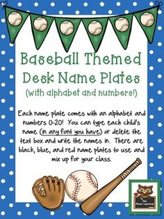 These cute baseball themed name plates will decorate your classroom for your sports unit or all year long!They are editable so that you can type your student's names on each tag. You can print all of one color or mix and match the colors around your room.