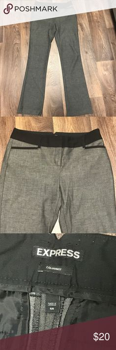 Express Columnist Pants - heathered with blk trim Beautiful size 4 Columnist Pants from Express, these heathered black pants have a gorgeous black trim detail, setting them apart from the rest of your dress pants. Smoke and pet free home, these are in excellent condition! Express Pants Straight Leg
