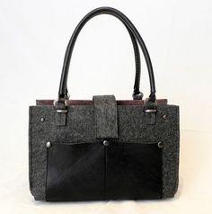 Borse a tracolla - Grey bag in feltro da passeggio - un prodotto unico di…