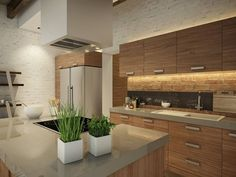 Lovely modern kitchen with a touch of rustic. By EVGENY BELYAEV DESIGN
