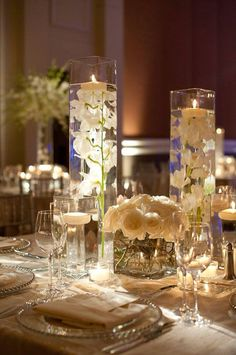 Ideas Wedding Reception Decorations Centerpieces Floating Candles For 2019 Wedding Table Centerpieces, Wedding Reception Decorations, Wedding Ceremony, Reception Ideas, Simple Elegant Centerpieces, Wedding Venues, Marriage Reception, Reception Table, Chic Wedding