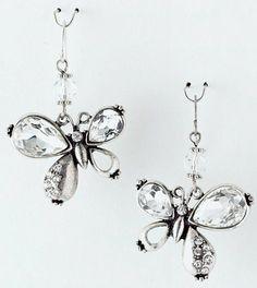 Butterfly Silver-tone Crystal Earrings Fish Hook Dangle USA Seller