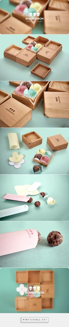 Caja de madera para bombones. Bonbonbon wooden box packaging