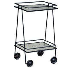 Blackened Steel And Textured Glass Rolling Bar Cart / Side Table | From a unique collection of antique and modern bar carts at http://www.1stdibs.com/furniture/tables/bar-carts/