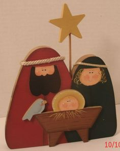 Nativity Hand Painted Made Mary Joseph Jesus Wooden Christmas Holiday Decor Star Christmas Yard Decorations, Christmas Wood Crafts, Christmas Nativity, Primitive Christmas, Christmas Signs, Holiday Crafts, Christmas Holiday, Christmas Ornaments, Holiday Decor