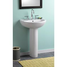 American Standard Evolution Pedestal Combo Bathroom Sink With 4 In. Centers  In White