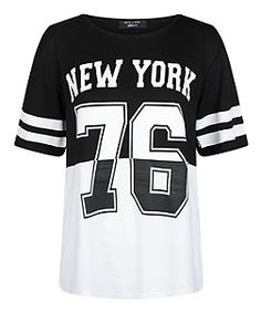 Teens Black Contrast New York 76 T-Shirt | New Look