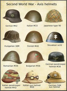 axis helmets by on DeviantArt Military Gear, Military Weapons, Afrika Corps, Historia Universal, Ww2 Uniforms, World War Two, Wwii, Helmets, Deviantart