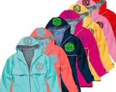 This adorable monogrammed rain jacket will brighten up the darkest rain shower. This price includes the monogram on the hood as well as the Inverness, Aberdeen, Raincoats For Women, Jackets For Women, Glasgow, Charles River, Personalized Bridesmaid Gifts, Boating Outfit, Windbreaker