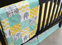 Mint, grey and yellow blanket