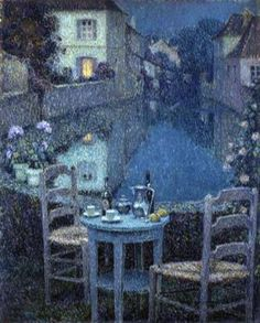 Small Table in Evening Dusk, 1921-Henri Le Sidaner