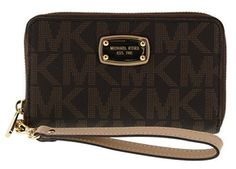 Michael Kors Large Flat Multifunction Phone Case Wristlet Wallet (Brown) ** Check out this great product.