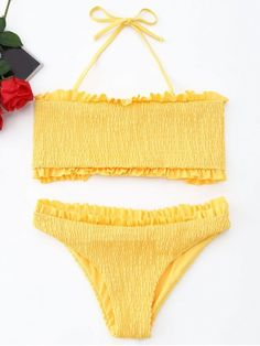 Shop for Frilled Smocked Bikini Set YELLOW: Bikinis L at ZAFUL. Only $11.03 and free shipping!