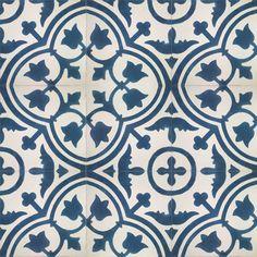 Nuevo suelo hidráulico Mod. 217-B en stock en blanco roto (MC3) y azul marino (MC44) de estilo floral.ac
