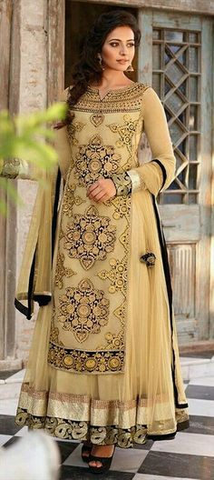 411262 Beige and Brown color family Party Wear Salwar Kameez in Net fabric with Machine Embroidery, Resham, Zari, Border, Thread work. Abaya Fashion, Ethnic Fashion, Indian Fashion, Women's Fashion, Anarkali Dress, Lehenga Choli, Anarkali Suits, Long Anarkali, Saree