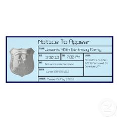 Notice to Appear Police Birthday Party Invitations #police #birthday #invitations