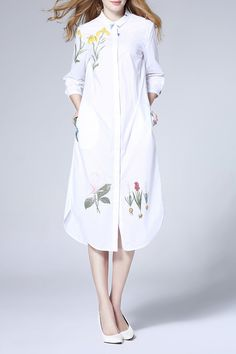 Weiguoyue White 3D Floral Pattern Polo Collar Dress | Midi Dresses at DEZZAL