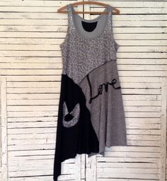 Love Tunic in Gray and Black L Upcycled Clothing by AnikaDesigns