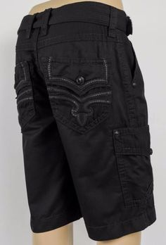 Rock Revival Jeans Mens Cargo Shorts Blackout Black w/ Leather, 34 36 38 #RockRevival #Cargo