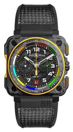 In Bell & Ross partnered with Renault Sport Formula One Team, thereby entering into the world of Formula 1 racing. The Bell & Ross was designed with drivers in mind with small seconds at 3 oclock, a skeleton date at 6 oclock, a central Bell Ross, Sport Watches, Cool Watches, Unique Watches, Latest Watches, Vintage Watches, Rolex Watches, Casio Protrek, Skeleton Watches
