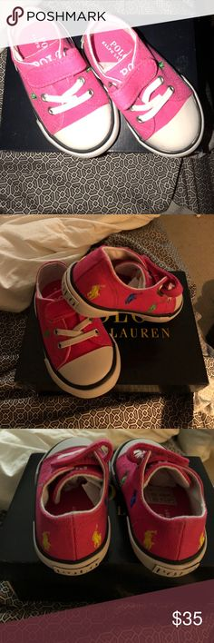 Ralph Lauren kids Sneakers sz 4 Hot pink sneakers with polo horses on the . They are adorable. This is a toddler sz 4 new in box! Ralph Lauren Shoes Sneakers