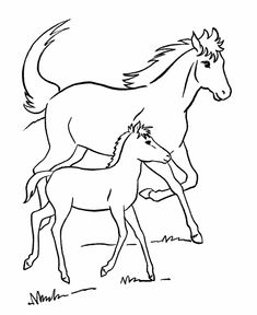 Horse Coloring Page | Mare And Her Colt And Other Coloring Printables