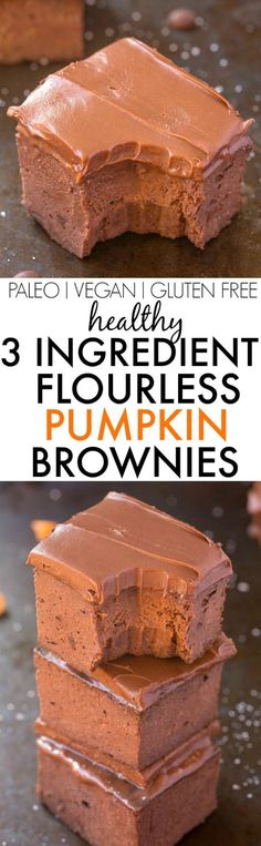 Healthy 3 Ingredient FLOURLESS Pumpkin Brownies- SO easy, simple and fudgy- NO butter, NO flour, NO sugar and NO oil needed at all! {vegan, gluten free, paleo recipe}- thebigmansworld.com