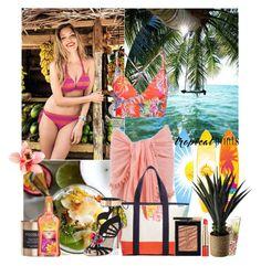 """Hot tropics"" by amethystes ❤ liked on Polyvore featuring Estée Lauder, Cocolux, Vitamin A, Tory Burch, Yves Saint Laurent, Sophia Webster, bikini, tropicalprints and hottropics"