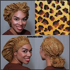 Green Scrubs - Tie Bonnet Hat - Leopard Skin Print  at #Scrubs.com #GreenScrubs
