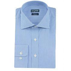 Chemise coupe cintrée à rayures bleu - Café Coton #chemise #chemisehomme http://www.cafecoton.fr/nouveaux-cols/10991-chemise-coupe-cintree-a-rayures-bleu.html