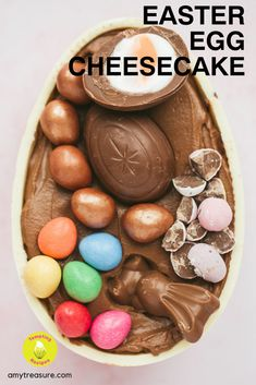 A white chocolate Easter egg filled with a creamy no bake chocolate cheesecake mixture and topped with Cadbury Creme Eggs and mini eggs. Hot Fudge Cake, Hot Chocolate Fudge, Easter Chocolate, Chocolate Flavors, Chocolate Cheesecake, White Chocolate, No Bake Cheesecake Filling, Basic Cheesecake, Easter Cheesecake