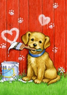 Toland Home Garden 102088 Painter Puppy House Flag by Toland Home Garden. Save 35 Off!. $12.99. Machine washable; UV, mildew, and fade resistant; 28 by 40-inch; Licensed art; 600 denier polyester; Heat sublimated to permanently dye fabric. This Painter Puppy House Flag will make a statement hanging from your front porch or in your garden this season. Show some love this Valentine's Day with this adorable Painter Puppy Flag. Designed by artist Rose Mary Berlin this flag feat...