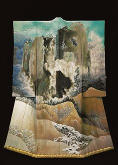 Snow on the Mountains Begins Thawing (1995) by the Late Japanese textile artist Itchiku Kubota(1917-2003) form the exhibition, Kimono as Art: The Landscapes of Itchiku Kubota, Canton Museum of Art in Canton, Ohio (February 8-April 26, 2009). ©...