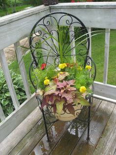 metal chair planter