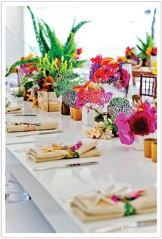 elegant caribbean party decorations - DIY wedding planner with ideas and tips including DIY wedding decor and flowers. Everything a DIY bride needs to have a fabulous wedding on a budget! Beautiful Table Settings, Wedding Table Settings, Wedding Centerpieces, Wedding Decorations, Table Decorations, Wedding Ideas, Caribbean Party Decorations, Colorful Centerpieces, Wedding Photos