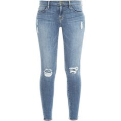 FRAME DENIM Le Skinny Jeans ($189) ❤ liked on Polyvore featuring jeans, pants, bottoms, calças, torn jeans, vintage skinny jeans, distressing jeans, destructed skinny jeans and patch jeans