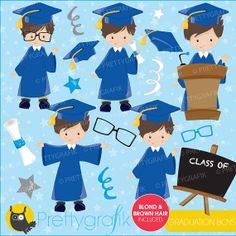 Graduation boys clipart commercial use by Prettygrafikdesign, #prettygrafik #graduationclipart