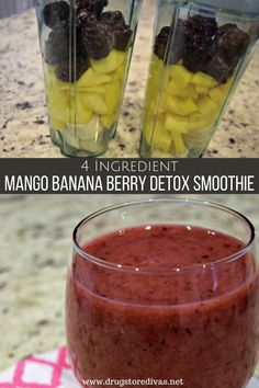 This Mango Banana Berry Detox Smoothie is one of the best healthy breakfast recipes you have. It's 4 ingredients, so it's easy to make in the morning.