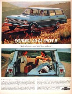 1963 Chevrolet Nova II Station Wagon original vintage advertisement. Exciting! Go '63 Chevy II. Lots of room and a lot less upkeep.