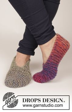 Free Pattern, simple, garter stitch slippers from Drops