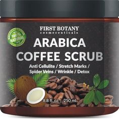100% Natural Arabica Coffee Scrub with Organic Coffee, Coconut and Shea Butter -#1 new release in facial scrubs! Loaded with antioxidants, this natural coffee scrub helps to fight premature skin aging like wrinkles, sun spots, and fine lines. When applied under and around the eyes, it can help in minimizing the appearance of puffy eyes as caffeine restricts blood vessels, which reduces swelling and inflammation. It can also help lightens dark circles under the eyes.