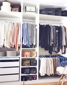 Cool 44 Creative Open Closet Design Ideas For Your Bedroom That You Need To Have Ikea Closet Organizer, Closet Organization, Organization Ideas, Clothing Organization, Organizing Tips, Ikea Pax Wardrobe, Wardrobe Closet, Closet Clothing, Open Wardrobe